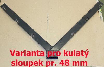 Y bavolet - držák, antracitový, 48 mm, pro uchycení žiletkového drátu nebo ostnatého drátu na plotový sloupek