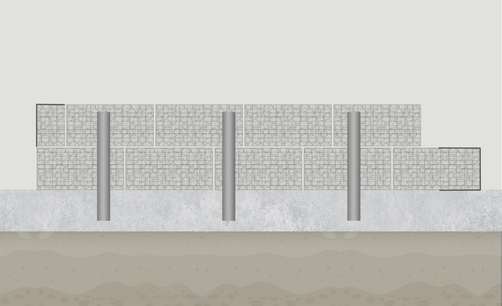 gabionová zeď z gabionů a gabionových košů