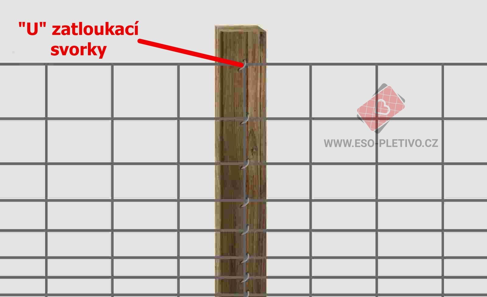 ukázka uchycení lesnického pletiva ke kůlům