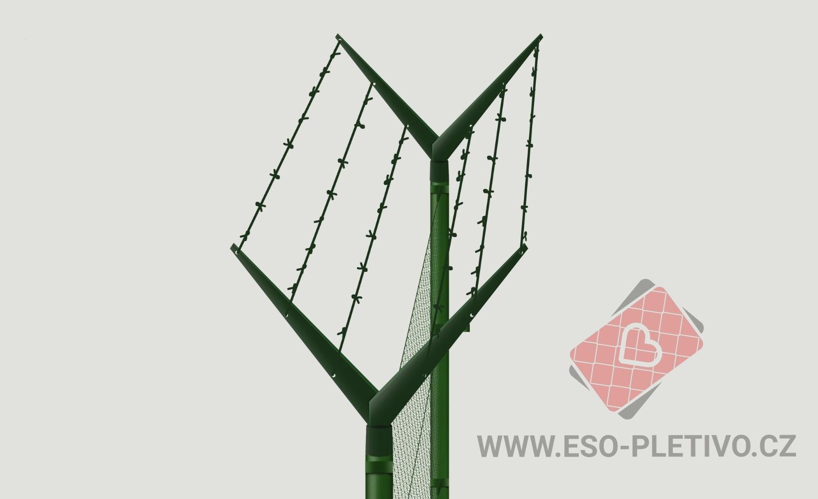 oboustranný Y bavolet - napnutý ostnatý drát